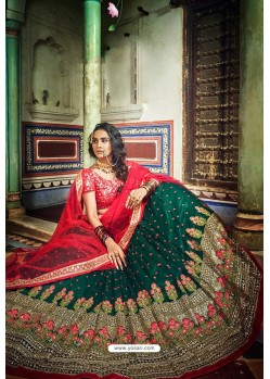 Dark Green And Red Soft Net Designer Lehenga Choli