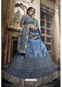 Grey Soft Net Designer Lehenga Choli