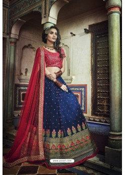 Navy And Red Soft Net Designer Lehenga Choli