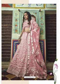Peach Soft Net Designer Lehenga Choli