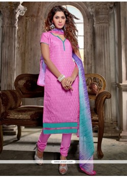 Picturesque Lace Work Pink Churidar Salwar Kameez