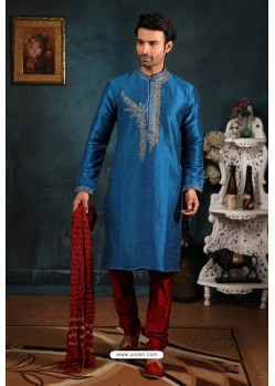 Peacock Blue Art Banarasi Silk Kurta Pajama