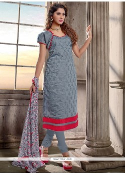 Catchy Chanderi Cotton Grey Lace Work Churidar Designer Suit