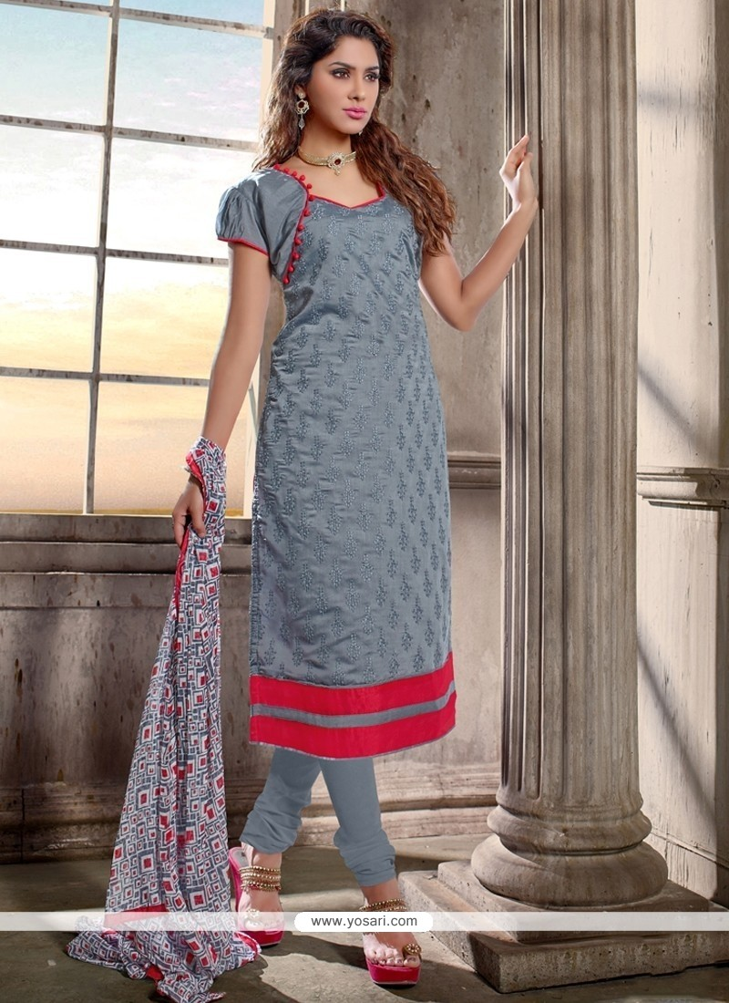 2defeb89d0 Shop online Catchy Chanderi Cotton Grey Lace Work Churidar Designer Suit