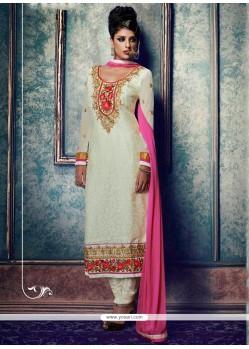 Adorning White Lace Work Churidar Salwar Kameez