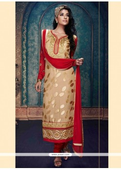 Marvelous Beige Embroidered Work Churidar Salwar Kameez