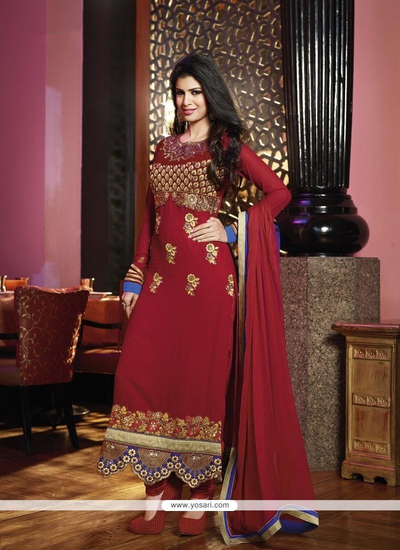 Fashionistic Maroon Georgette Churidar Salwar Suit
