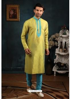 Incredible Parrot Green Art Banarasi Silk Kurta Pajama