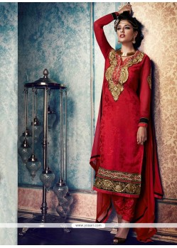 Sumptuous Resham Work Red Churidar Designer Suit