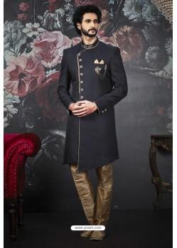 Navy Blue Imported Jacquard Designer Sherwani