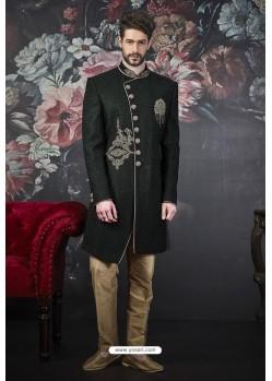 Dark Green Imported Jacquard Designer Sherwani