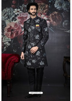 Black And Grey Imported Jacquard Designer Sherwani