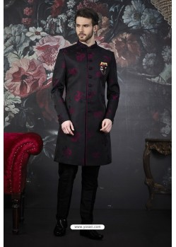 Black And Wine Imported Jacquard Designer Sherwani