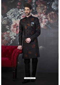 Black And Rust Imported Jacquard Designer Sherwani