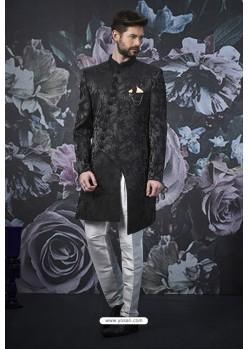 Black Imported Jacquard Designer Sherwani