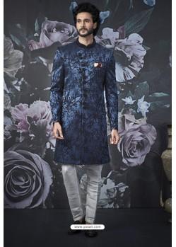 Peacock Blue Imported Jacquard Designer Sherwani