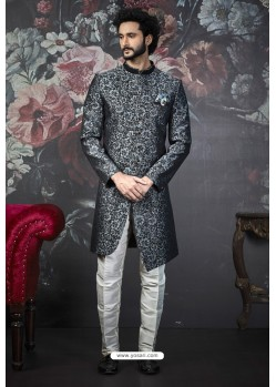 Grey And Black Imported Jacquard Designer Sherwani