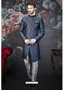 Blue And Black Imported Jacquard Designer Sherwani