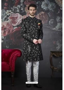 Fantastic Black Imported Jacquard Designer Sherwani