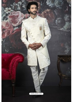 Latest Cream Imported Jacquard Designer Sherwani