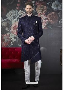 Amazing Navy Blue Imported Jacquard Designer Sherwani