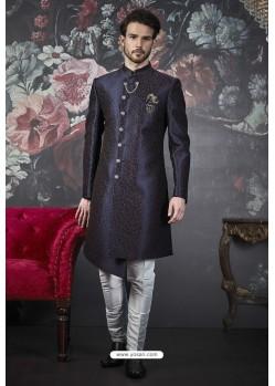 Dark Blue Imported Jacquard Designer Sherwani