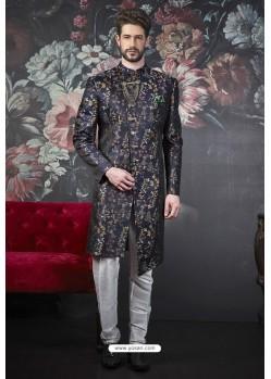 Delightful Multi Colour Imported Jacquard Designer Sherwani