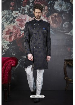 Black And Blue Imported Jacquard Designer Sherwani