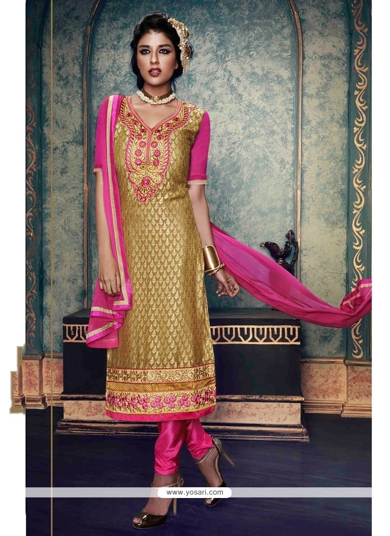 Pleasance Beige Embroidered Work Brasso Churidar Salwar Suit
