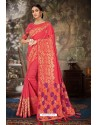 Crimson Linen Cotton Banarasi Silk Designer Saree