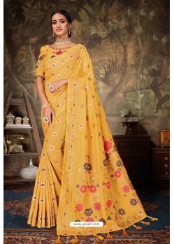 Yellow Linen Cotton Banarasi Silk Designer Saree