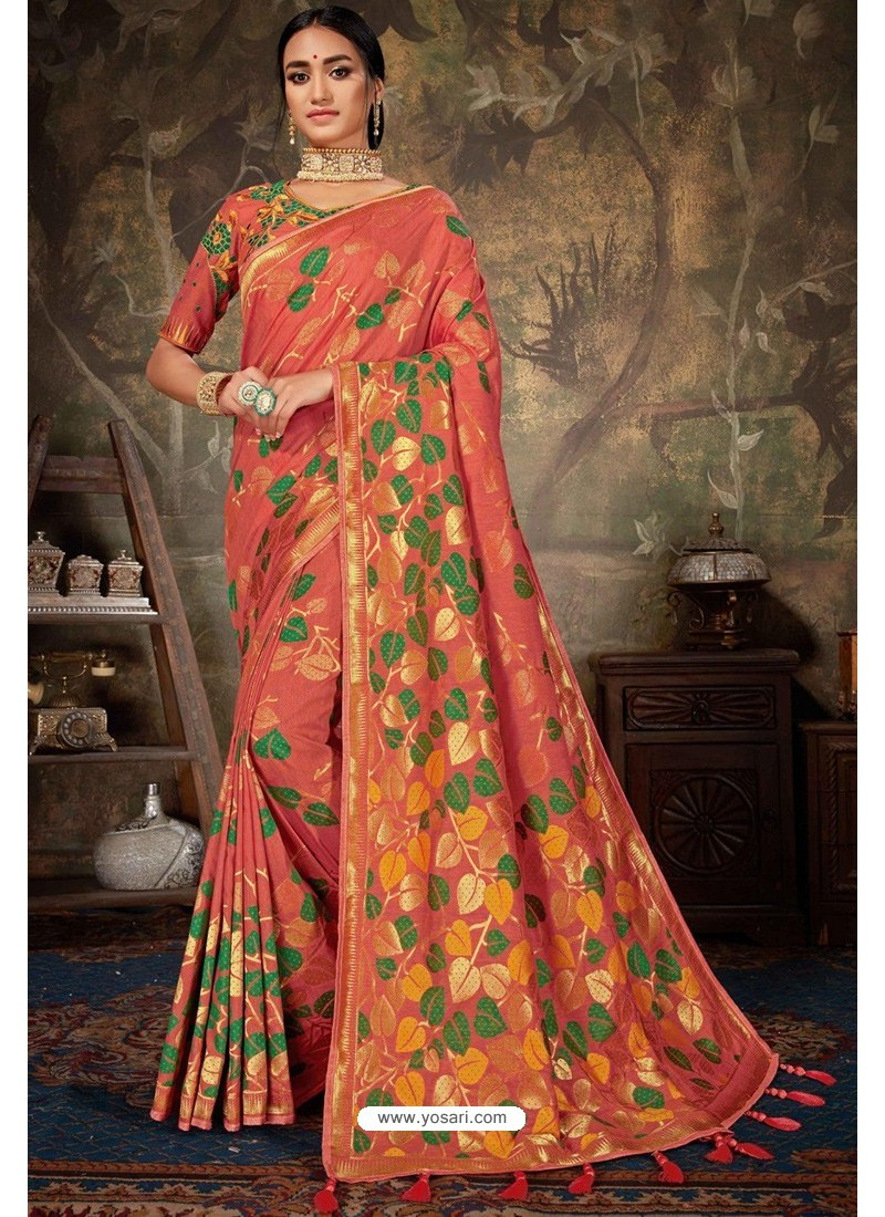 Dark Peach Linen Cotton Banarasi Silk Designer Saree