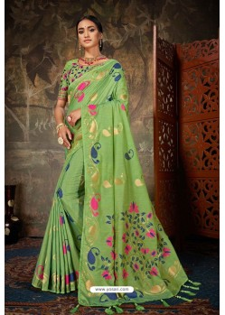 Green Linen Cotton Banarasi Silk Designer Saree