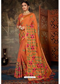 Orange Linen Cotton Banarasi Silk Designer Saree
