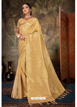 Golden Linen Cotton Banarasi Silk Designer Saree