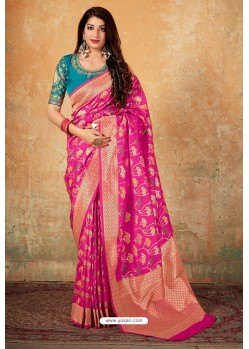 Decent Red Banarasi Silk Weaving Worked Saree