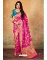 Decent Red Banarasi Silk Weaving Worked Saree