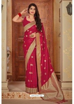 Modern Red Banarasi Silk Weaving Worked Saree