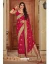 Modern Red Banarasi Silk Weaving Worked Saree