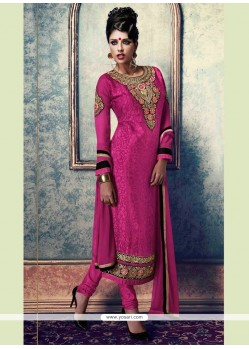 Picturesque Hot Pink Resham Work Brasso Churidar Designer Suit