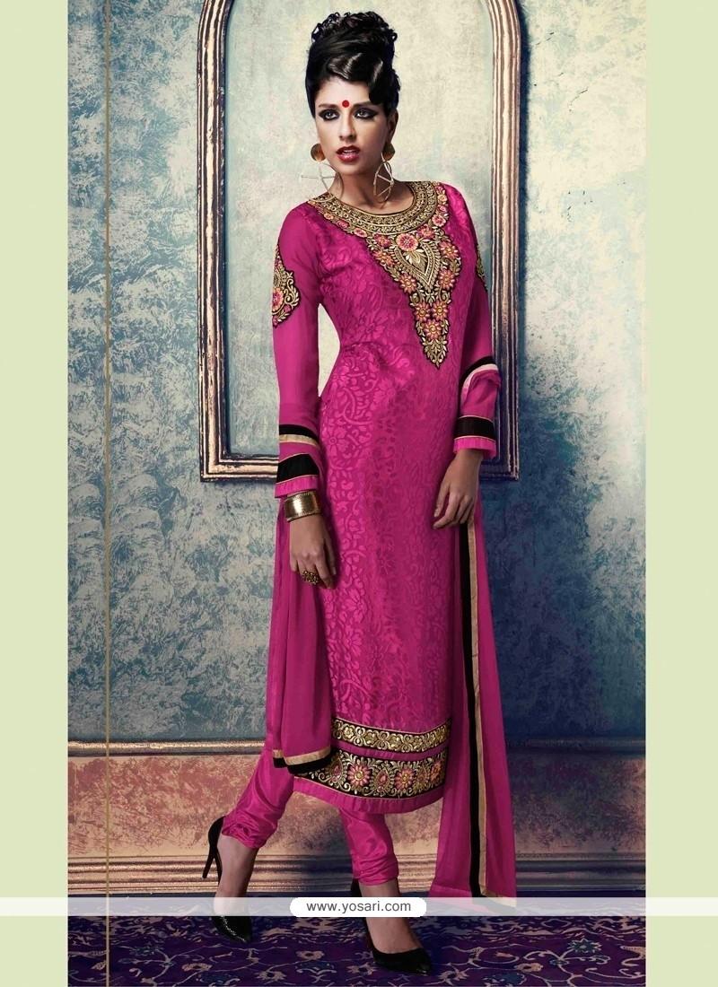 Picturesque Hot Pink Resham Work Brasso Churidar Designer Suit