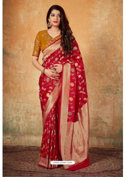 Genius Red Banarasi Silk Weaving Worked Saree