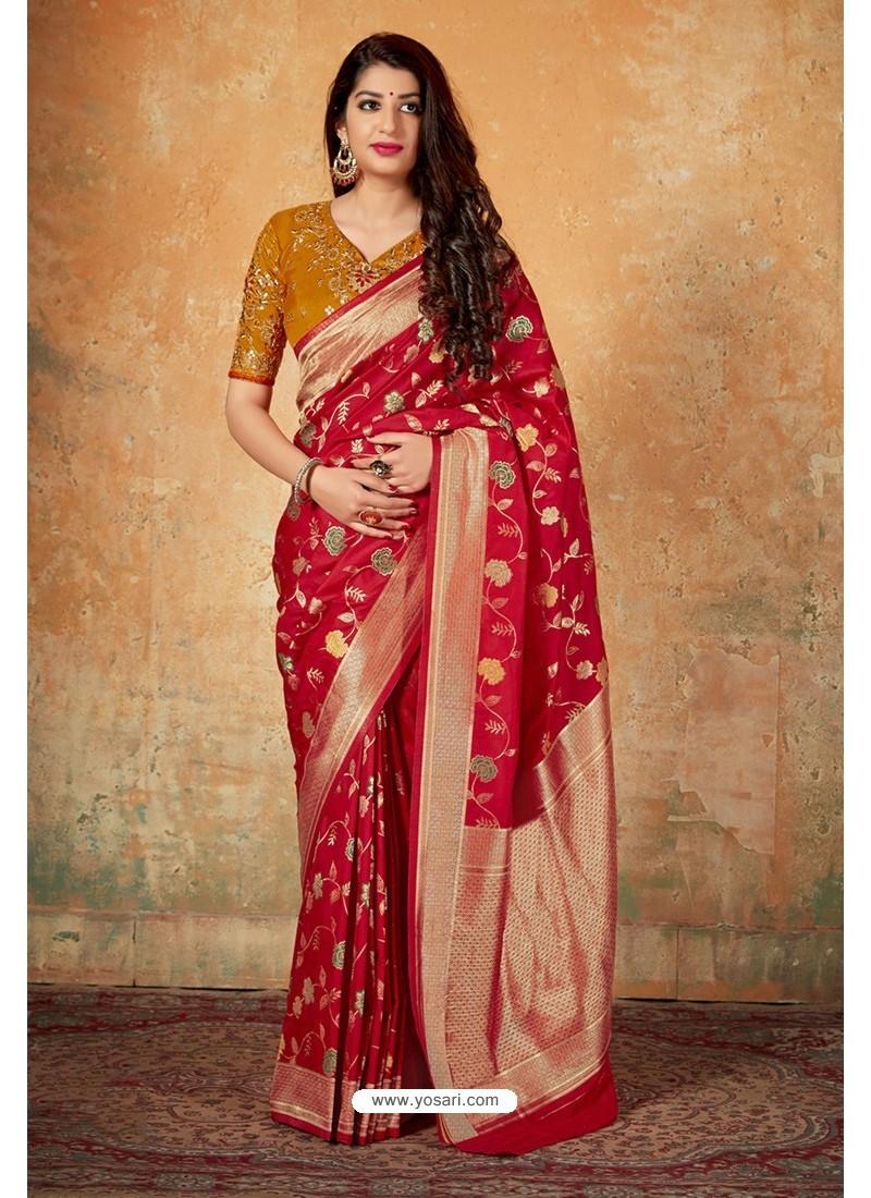 Genius Red Banarasi Silk Weaving Worked Saree