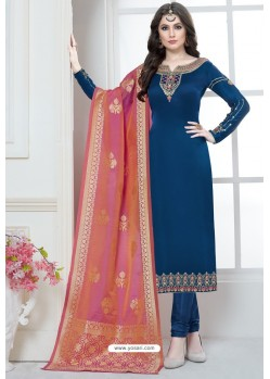 Teal Blue Satin Georgette Embroidered Churidar Suit