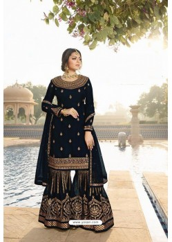 Navy Blue Faux Georgette Embroidered Sharara Suit