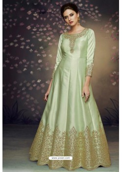 Green Heavy Dolla Silk Designer Gown