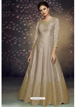 Taupe Heavy Dolla Silk Designer Gown