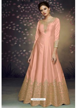 Peach Heavy Dolla Silk Designer Gown