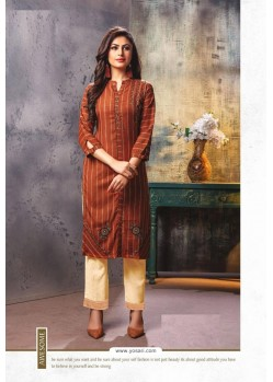 Brown Viscose Cotton Readymade Kurtis With Palazzo