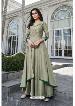 Olive Green Soft Silk With Crepe Malai Long Kurti
